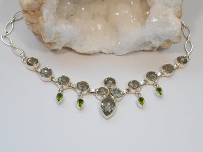 Green Amethyst Quartz and Peridot Collar Necklace