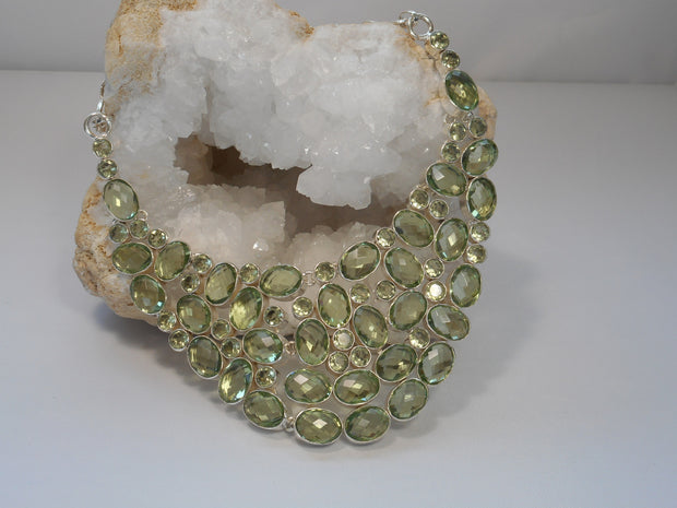 Green Amethyst Quartz Collar Necklace 1