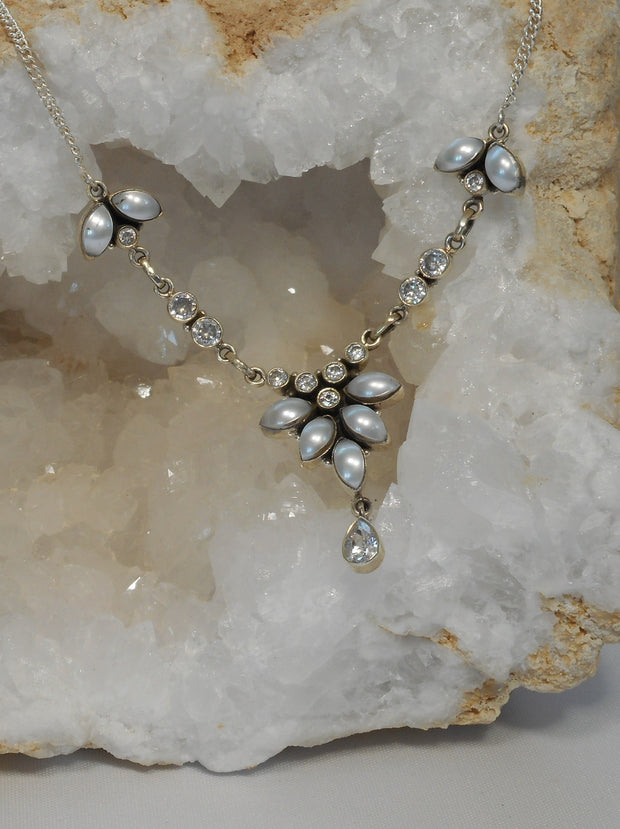 Delicate White Topaz Necklace 3 with Pearls