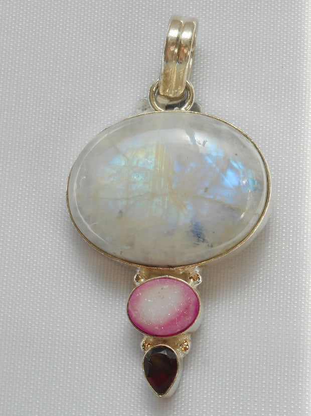 Moonstone and Garnet Pendant