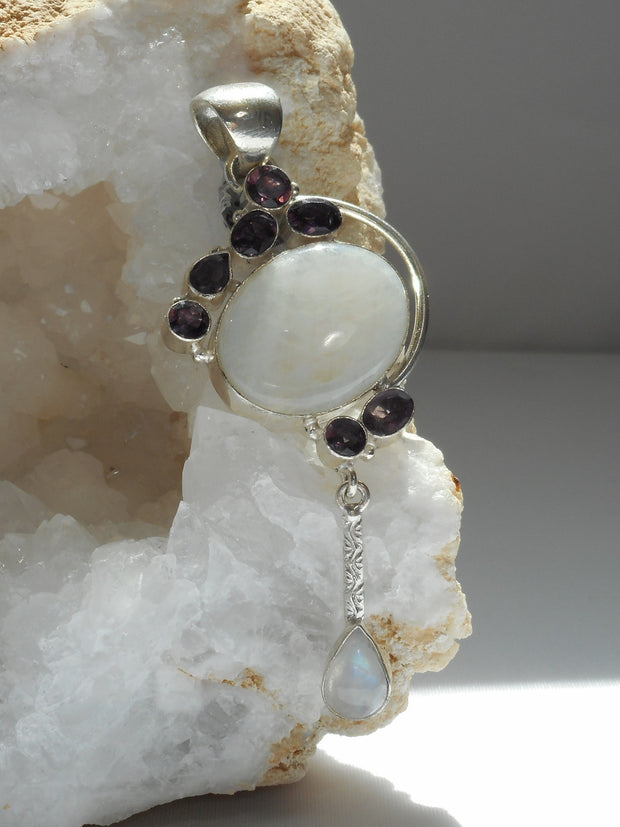 Moonstone Pendant 7 with African Amethyst Quartz