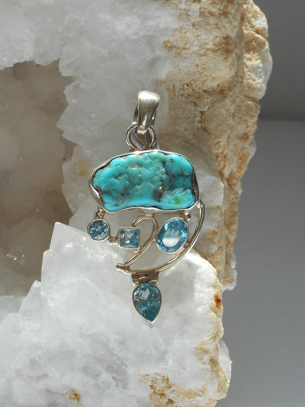 Artisan Turquoise Pendant 1 with Blue Topaz