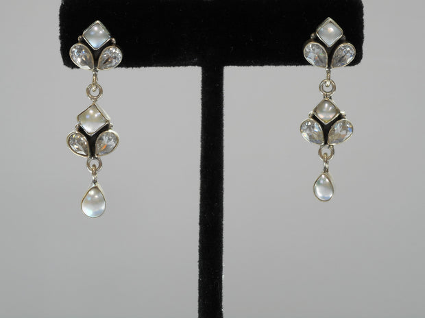 Delicate White Topaz and Pearl Teardrop Earring Set