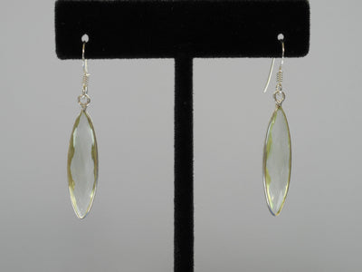Green Amethyst Quartz and Sterling Marquis Earring Set