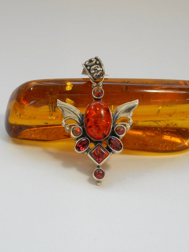 Angel Sterling and Amber Pendant 1 with Fire Opals and Garnet