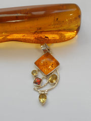 Amber Pendant 5 with Citrine and Opal