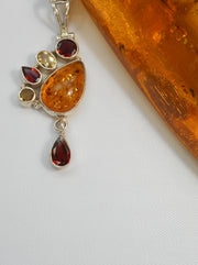 *Amber Pendant 2 with Garnet and Citrine Quartz