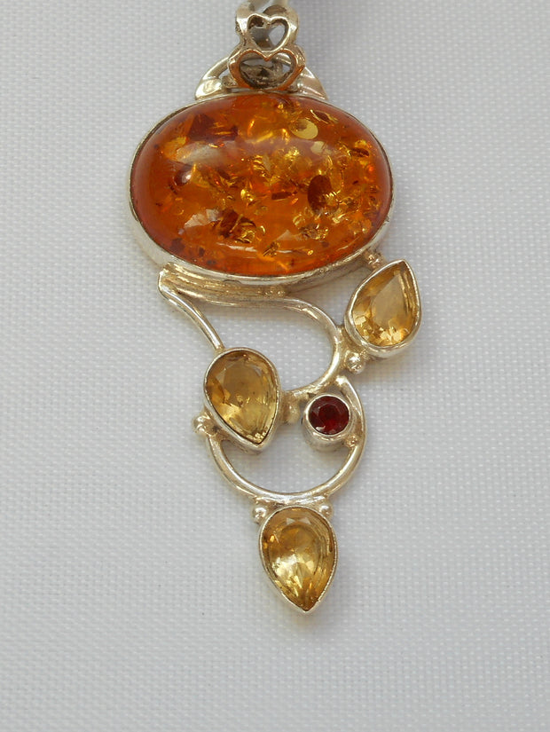 Amber Pendant 1 with Garnet and Citrine Quartz