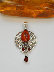 Amber and Sterling AJC Signature Pendant with Garnets