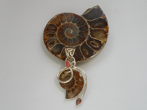 Ammonite Fossil Pendant 1 with Fire Opal