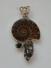 Ammonite Fossil Pendant 4 with Meteorite and Onyx