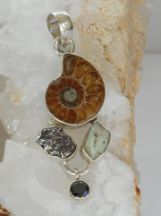 Ammonite Fossil Pendant 3 with Meteorite, Opal and Onyx