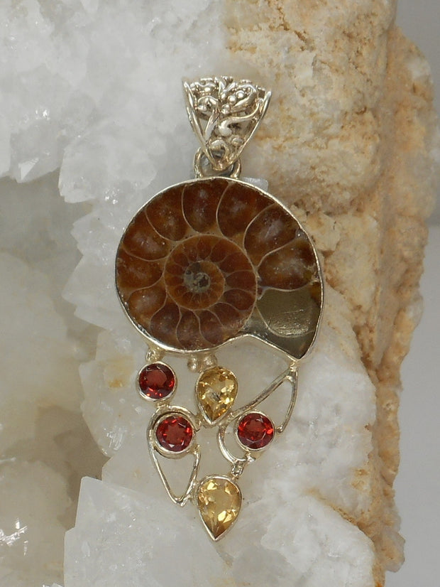 Ammonite Fossil Pendant 7 with Garnet and Citrine Quartz