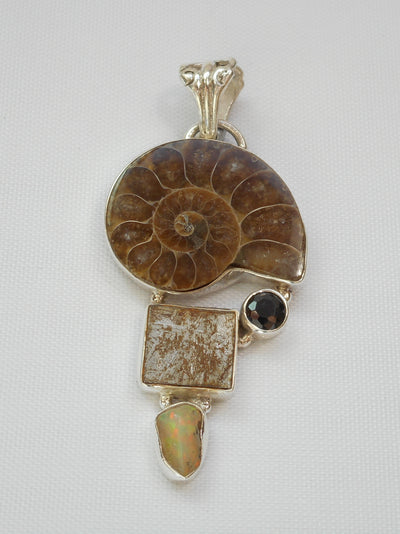 Ammonite Fossil Pendant 5 with Meteorite, Opal and Onyx