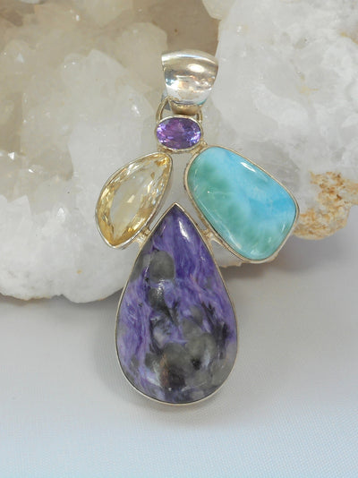 Larimar Pendant with Amethyst, Citrine Quartz, and Charoite