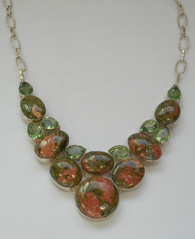 Unakite Necklace 2 with Green Amethyst Quartz