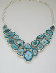 Ocean Blue Solar Quartz Crystal Gemstones Necklace