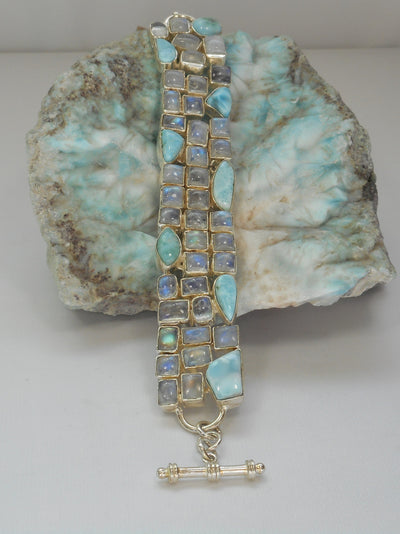 Larimar and Moonstone Bracelet 2