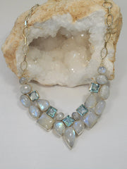 Rainbow Moonstone and Blue Topaz Teardrop Collar 3