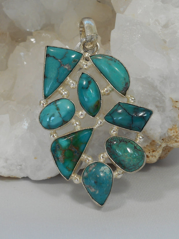 Tibetan Turquoise and Sterling Pendant 1