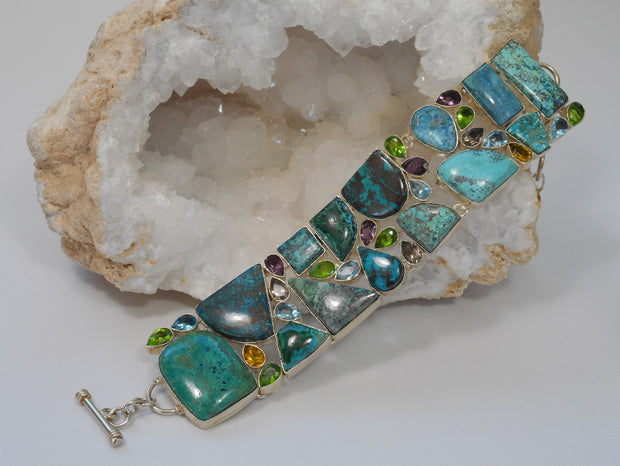 Chrysocolla and Turquoise Bracelet with Blue Topaz, Peridot and Citrine Quartz