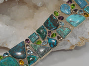 Chrysicolla and Turquoise Bracelet with Blue Topaz, Peridot and Citrine Quartz