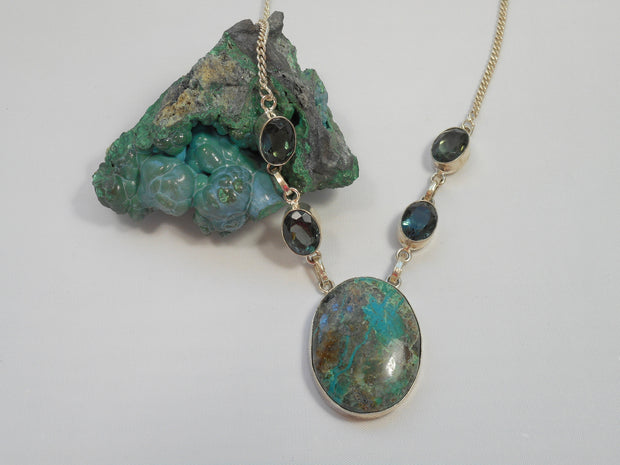 Chrysicolla Necklace 4 with Iolite