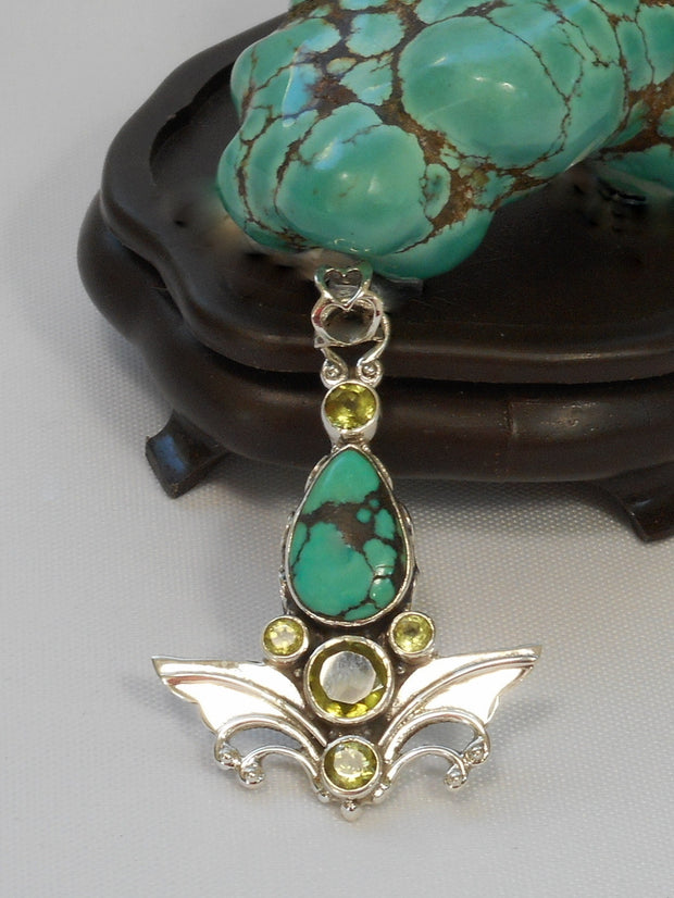 Tibetan Turquoise Pendant 6 with Citrine Quartz