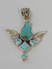 Artisan Turquoise Pendant 4 with Blue Topaz