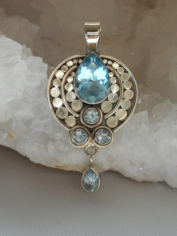 Blue Topaz and Sterling Pendant 1