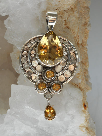 Citrine Quartz and Sterling AJC Signature Pendant 1