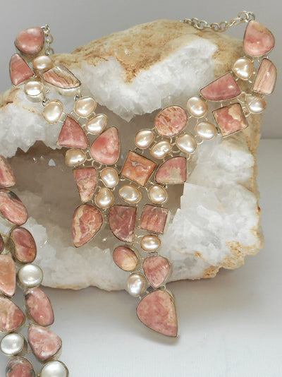 Rhodachrosite Assymetric Necklace with Pearls