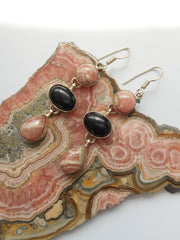 Rhodachrosite Earring Set 1 with Onyx