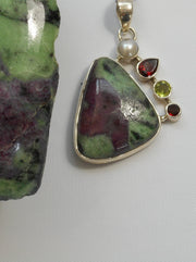 Ruby in Zoisite set with Garnets and Citrine Quartz Pendant 3