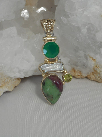 Ruby in Zoisite Pendant 11 with Emerald, Pearl and Peridot