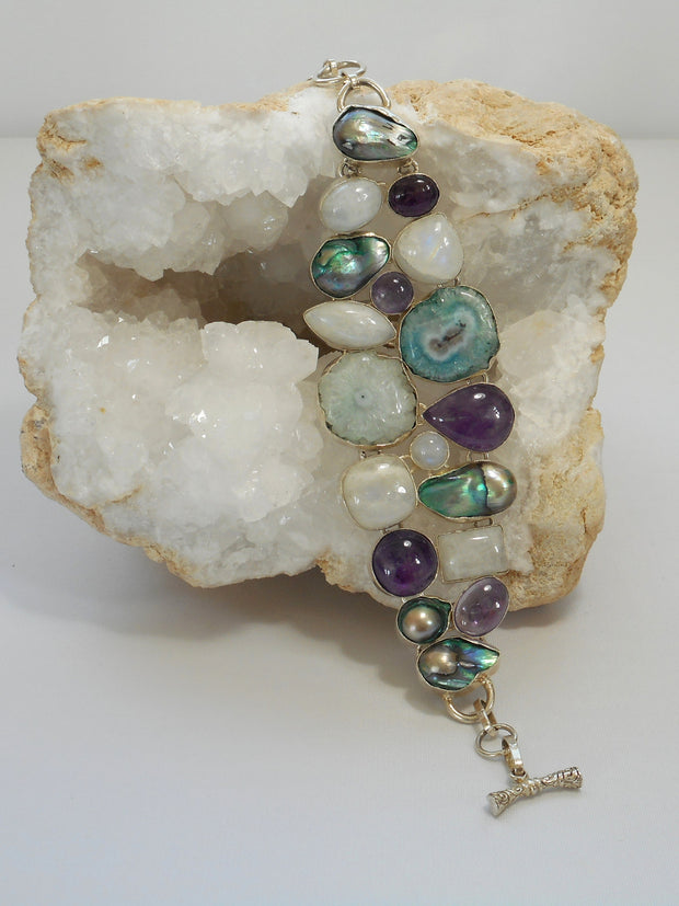 Moonstone Bracelet with Amethyst, Pearls, and Solar Quartz