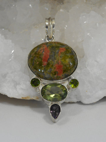 Unakite Pendant 3 with Peridot and Amethyst Quartz