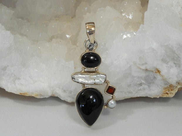 Black Onyx Pendant 3 with Garnet and Pearls