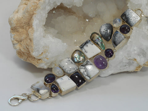 Dendritic Opal Bracelet 3 with Amethyst Quartz, Moonstone and Pearls