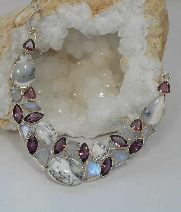 *Dendritic Opal Necklace 2 with Amethyst Quartz and Moonstone
