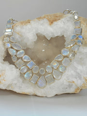 Moonstone Faceted Mosaic Necklace 1, Teardrop center stone