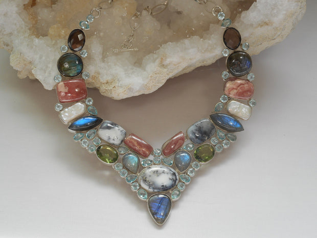 *Labradorite and Blue Topaz Necklace with Dendritic Opal and Quartz