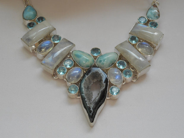 Moonstone and Blue Topaz Necklace with Larimar and CoCo Geode