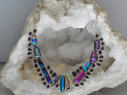 Dichroic Glass Necklace 2 with Amethyst