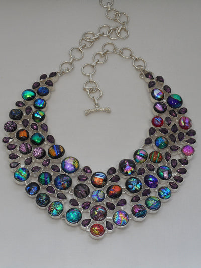 Dichroic Glass Necklace 3 with Amethyst Quartz