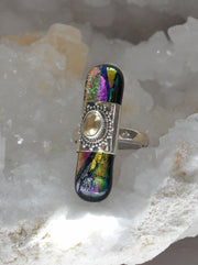 Dichroic Glass and Citrine Quartz Sterling Ring 1