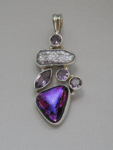 Dichroic Glass Pendant 10 with Amethyst Quartz and Pearl