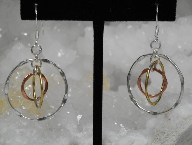 Delicate Sterling and Copper Hoop Earring Set 1