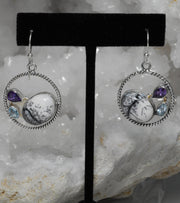 Dendritic Opal Hoop Earring Set 2 with Amethyst Quartz and Blue Topaz