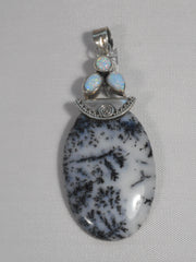 Dendritic Opal Pendant with Fire Opal 3